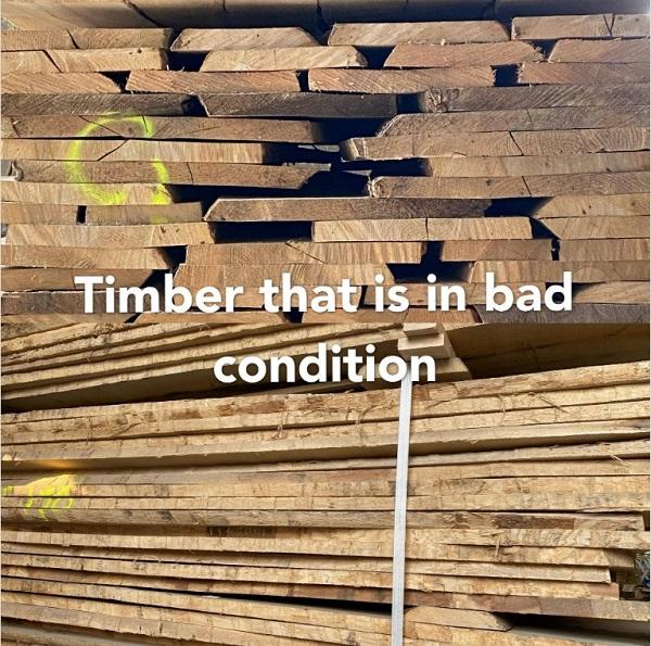 Holz in schlechtem Zustand