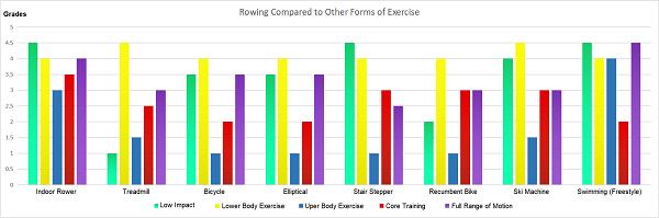 Rudern im Vergleich zu anderen Übungsformen